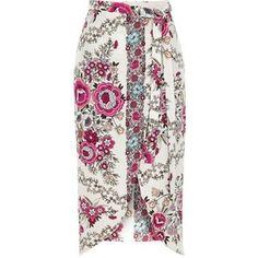 River Island Pink floral print wrap midi skirt