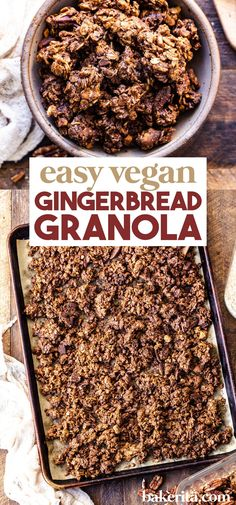 Easy vegan gingerbread granola recipe. Meet my new favorite snack! This granola tastes like a gingerbread cookie, with a soft, rich texture and a deliciously spicy flavor. This easy granola recipe comes together quickly and is perfect for gifting. #granola #veganrecipes Healthy Breakfast Snacks, Veggie Snacks, Healthy Vegan Snacks, Delicious Vegan Recipes, Snack Recipes, Vegan Meals, Breakfast Recipes, Healthy Eating, Vegan Gingerbread Cookies