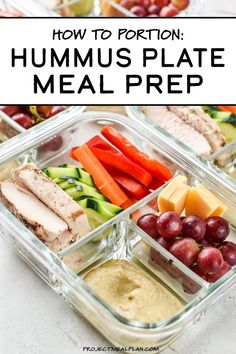 This Chicken & Hummus Plate Lunch Meal Prep is so simple yet incredibly delicious! Get back to basics with some fresh cut bell pepper, carrot, cucumbers, paired with a perfect portion of chicken breast, cheese slices, and grapes for a touch of sweetness. Simple portioning instructions included! #projectmealplan #mealprep #coldlunch #hummusplate #bistrobox