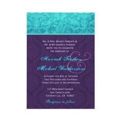 Grey Aqua Damask RSVP Wedding Card | Wedding card