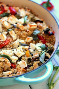 An array of Mediterranean flavors and feta cheese are baked into this hearty quinoa casserole. It's an easy to make vegetarian dinner and works as a main dish or a side. Healthy and fresh, with just the right about of indulgence from the feta cheese, this is a vegetarian recipe for everyone.