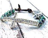 Teal and Purple Pearl Rhinestone Side Cross Beaded Leather Bracelet / Winter Elegance/ Urban Luxe Boho Chic