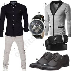 Schwarz-Grauer Look mit Strickjacke (m0484) #outfit #style #fashion #menswear #mensfashion #inspiration #shirt #cloth #clothing #männermode #herrenmode #shirt #mode #styling #sneaker #menstyle