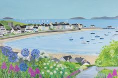 Beaumaris Bay open edition print by Janet Bell. Available from Janet Bell Gallery, Beaumaris, Isle of Anglesey Landscape Art, Landscape Paintings, Beach Watercolor, Watercolour Painting, Bell Art, Seaside Art, Peace Art, Naive Art, Art Party