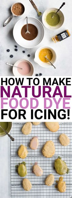 How to Make Natural Food Dye for Icing: gluten free and vegan! Use common household ingredients to dye your icing pink, brown, yellow, and green!    fooduzzi.com recipe