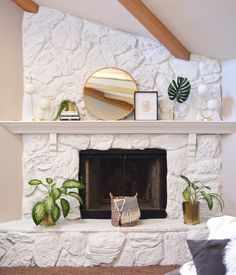 Our wonderful Jolie Home paint transformed this stone fireplace😍 hurry in today from Lots of colors! Whitewash Stone Fireplace, White Stone Fireplaces, Brick Fireplace Makeover, White Fireplace, Fireplace Remodel, Diy Fireplace, Fireplace Surrounds, Painted Rock Fireplaces, Houses