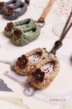 flower of orange crochet mini leather shoes *
