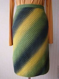 Диагональное вязание юбки спицами