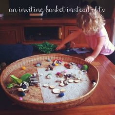 Inviting small world basket from An Everyday Story Creative Activities, Sensory Activities, Infant Activities, Sensory Play, Activities For Kids, Sensory Table, Play Based Learning, Learning Through Play, Early Education