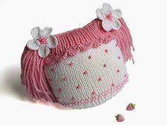 Tejido a mano el sombrero de las muchachas del bebé con las colas divertidas, niñas de punto rosa gorrita / tamaño 4-7M