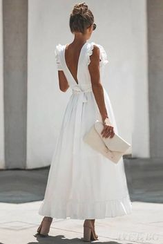Tara maxi wrap dress in white - Elegant Dresses, Pretty Dresses, Sexy Dresses, Dress Outfits, Fashion Dresses, Summer Dresses, Backless Dresses, Formal Outfits, Maxi Shirt Dress