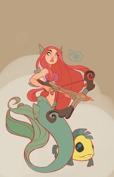 Disney Fan Art Reimagines the Princesses in a Dreamy New Style - Ariel and Flounder Disney Fan Art, Disney Pixar, Disney E Dreamworks, Disney Animation, Disney Love, Disney Characters, Disney Princesses, Punk Disney, Disney Girls