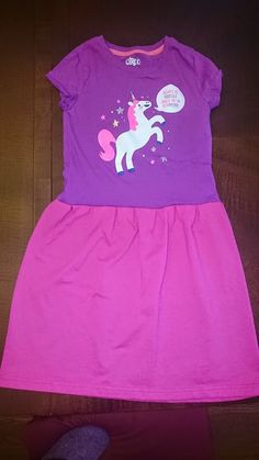 Purple and Pink Unicorn Be Yourself sparkly knit t-shirt party dress - size 7/8