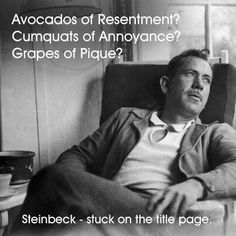 John Steinbeck pondering his title for The Grapes of Wrath