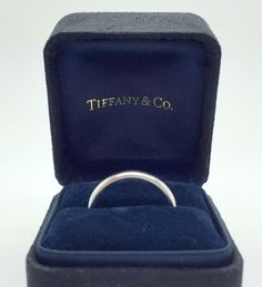 Authentic Tiffany & Co 2.6 mm 950 Platinum Bezet Band Ring, Size 8 #TiffanyCo