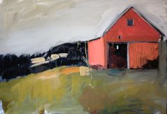 Red Barn: expressionism, landscape, multiple mediums, 24 x 36 x .75 inches, by painter Claire Bigbee