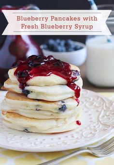 These fluffy and delicious Blueberry Pancakes with Fresh Blueberry Syrup are unbeatable! Your family will ask for them again and again.