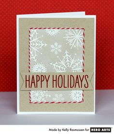 One of my favorite cards ever - she masked the snowflake area and then surrounded it with twine! Kelly R. for Hero Arts