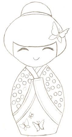♥♥ ۞ Kokeshi Doll -- can be used as a paper piecing pattern for cardmaking or scrapbooking or quilt. Colouring Pages, Coloring Books, Hand Embroidery, Embroidery Designs, Embroidery Stitches, Felt Crafts, Paper Crafts, Paper Dolls, Felt Dolls