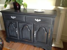 soft black console table