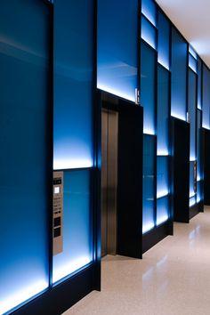 Pacific Place Lobby///Sand Studios///San Francisco, CA Office Interior Design, Office Interiors, Modern Interior, Commercial Design, Commercial Interiors, Elevator Lobby Design, Hotel Corridor, Feature Wall Design, Lift Design