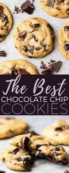 These are the best chocolate chip cookies ever. This recipe has no funny ingredients, no chilling time, etc. Just a simple, straightforward, amazingly delicious, doughy yet still fully cooked, chocolate chip cookie that turns out perfectly every single time! #cookies #chocolatechipcookies #baking #recipe #chocolate