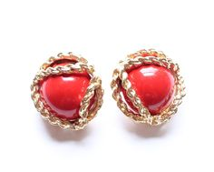 Vintage Gold Tone & Red Cab Dress Cocktail Clip Earrings by paststore on Etsy