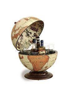 Globe Drinks Cabinet Desk Beige