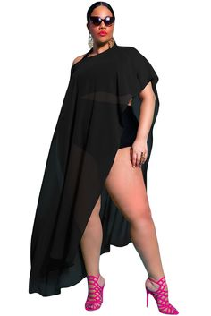 Off The Shoulder Black Draped Plus Size Cover-up