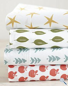 new percale sheets from garnet hill the apples and stars would be perfect for adelines - Kid Sheets