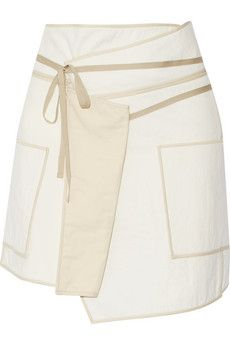 Isabel Marant Liam asymmetric wrap-effect cotton mini skirt | THE OUTNET