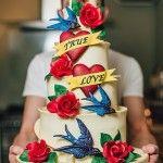 swallow tattoo themed wedding cake | InkedWeddings.com