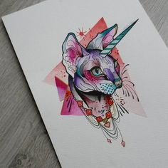 """206 Likes, 8 Comments - Anais (@anaisallnt) on Instagram: """"New painting #cat #unicorn #sphynx #painting #watercolor"""""""