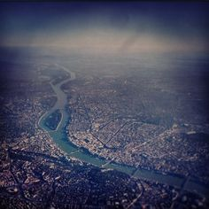Budapest from the Air. You can clearlz see the Chain bridge and margaret bridge (below Margaret Island) and the inner city ring road.