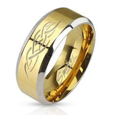 New Men's Stainlees Steel 2 tone Gold IP Tribal Inlay Band Ring,Sizes 9-13(0029) in Jewelry & Watches, Jewelry & Watches   eBay