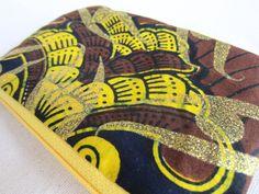 trousse tissu wax africain jaune et marron (envoi 0€) - par Cewax sur Afrikrea, €12.00