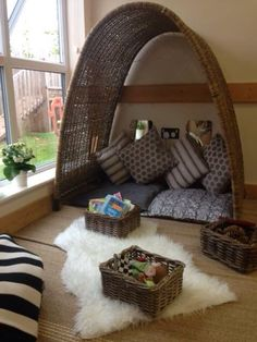 wicker seating area for reading eyfs pre school