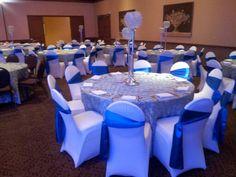 Eldorado Country Club - Wedding Reception Ballroom in Blue  www.eldoradocc.com chair covers, wedding receptions, catering, recept ballroom, ballrooms, country club, blue sash, blues, blue wwweldoradocccom