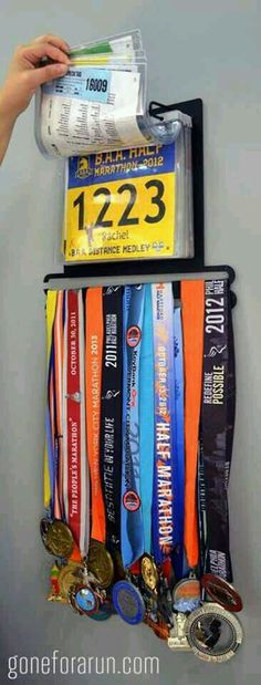 Display your collection of race bibs and running medals as a work of art with the BibFOLIO+™ race bib and medal display from Gone For a Run. This running display holds up to 24 race medals and 100 race bibs.