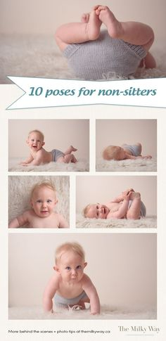 Poses for Non-Sitters 10 simple poses for non-sitters (with free reference guide!) - 10 simple poses for non-sitters (with free reference guide! Newborn Photography Poses, Toddler Photography, Photography Jobs, Newborn Session, Indoor Photography, Baby Photography Tips, Newborn Pictures, Baby Pictures, Family Pictures