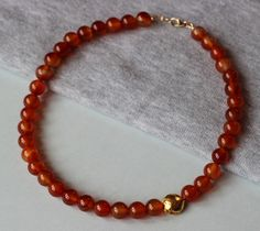 Orange Lace Agate Gemstones with 24k Gold Vermeil Puffy Bead Necklace by ILgemstones on Etsy