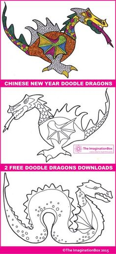 Chinese New Year Dragon Doodle Free Coloring Pages