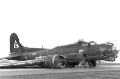 "B-17G-20-VE (S/N 42-97557) ""Mercy's Madhouse"" (VK-X) of the 303rd Bomb Group, 358th Bomb Squadron, after a wheels-up emergency. H2X equipped a/c."