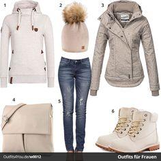 Beiges Damen-Outfit mit Naketano Hoodie, beige-brauner Sublevel Jacke, Modamoda Tasche, Boots und Alice & Elmer Jeans. Jetzt ansehen