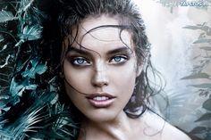 Mokra, Twarz, Kobiety, Niebieskie, Oczy, Grafika