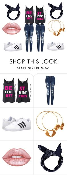 """""""cute bff"""" by secret-marie ❤ liked on Polyvore featuring 2LUV, adidas, Alex and Ani, Lime Crime and Boohoo"""