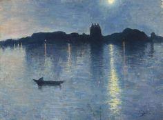 Jean Delville (Belgian, 1867-1953), Le lac au clair de lune [The lake in moonlight], 1888