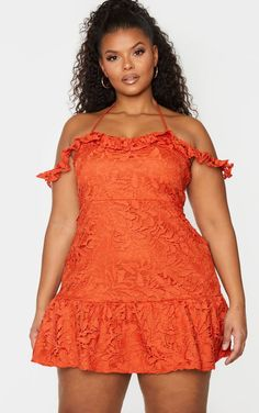 The Plus Sage Green Lace Bardot Frill Hem Dress. Head online and shop this season's range of plus size at PrettyLittleThing. Curvy Women Fashion, Plus Size Fashion, Girl Fashion, Fashion Outfits, Plus Sise, Plus Size Cocktail Dresses, Moda Plus Size, Plus Size Beauty, Green Lace