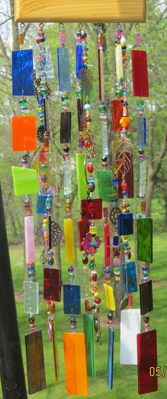 Stained Glass Art Wind Chime Multicolor by glasscrushdesigns