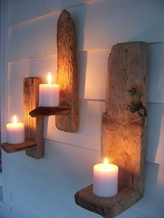 wanddeko bastelideen treibholz deko Home Design: Interior Design Ideas for Contemporary Homeowners C Rustic Wall Sconces, Modern Wall Sconces, Rustic Walls, Wooden Walls, Candle Sconces, Driftwood Candle Holders, Wood Projects For Beginners, Easy Woodworking Projects, Popular Woodworking